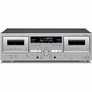 teak double cassette deck silver w 1200