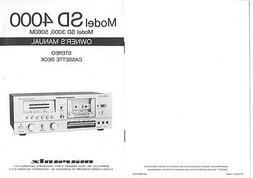 Marantz SD-4000 Cassette Deck Owners Manual