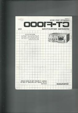 PIONEER  CT-F1000 CASSETTE TAPE DECK 20 PAGE OPERATING INSTR