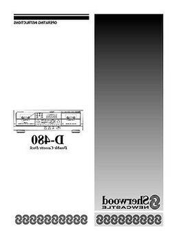 Sherwood D-480 Cassette Deck Owners Instruction Manual
