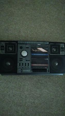 Vintage Emerson dual cassette recorder and player.